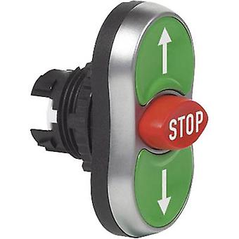 Triple head pushbutton Front ring (PVC), chrome-plated Green, Red, Green