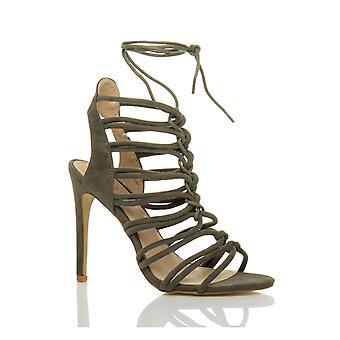 Ajvani mujeres tacón tiras con encaje corte ghillie enjaulado sandalias zapatos