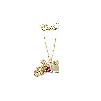Ettika - Collar necklace Charm's love Crystal and gold yellow