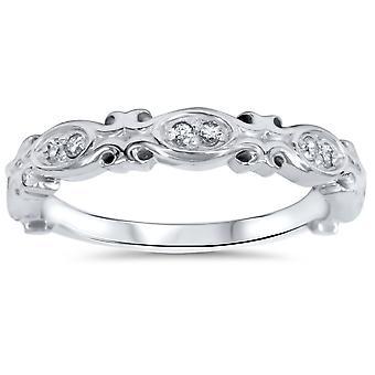 1/10ct Vintage Diamond Wedding Ring 14K White Gold