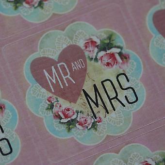 Mr and Mrs Pink Heart Floral Wedding Favour Sticker Sheet x 35 Stickers
