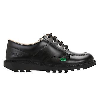 Kickers Youth Kick Lo Black Leather School Shoes