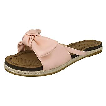 Ladies Savannah Flat Rope Edged Mules F00131 - Pink Synthetic - UK Size 5 - EU Size 38 - US Size 7
