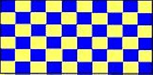 Sjekk flagg blått og gult 5 ft x 3 ft med hull For hengende