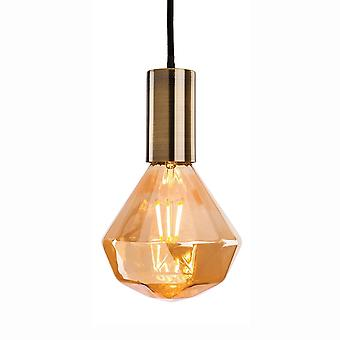 Firstlight Hudson 4 Antique Brass Pendant Supplied With Decorative Amber Glass LED Lamp 4