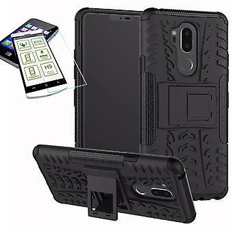 Voor LG G7 hybrid case 2 stuk zwart + kogelvrij tas gevaldekking van mouw nieuwe
