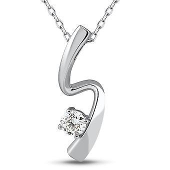 1/4ct Solitaire Diamond 14k White Gold Freeform Pendant & Chain Womens Jewelry