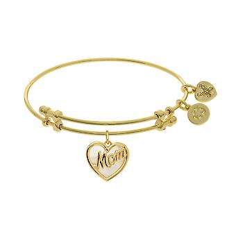 Heart Shape Mom Charm With Created Mother Of Pearl Expandable Bangle Bracelet, 7.25