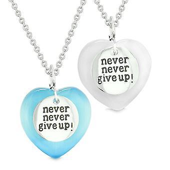 Amuletter gi aldri opp kjærlighet par eller beste venner hjerter blå hvit simulert katter øye halskjeder