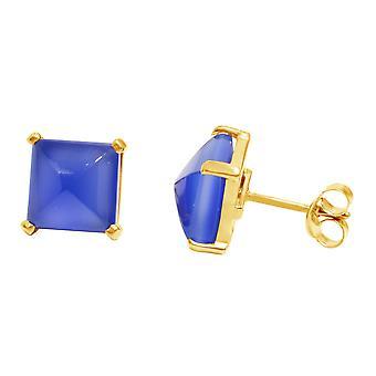 Gemshine - Damen - Ohrringe - 925 Silber Vergoldet - Chalcedon - Blau - 10mm