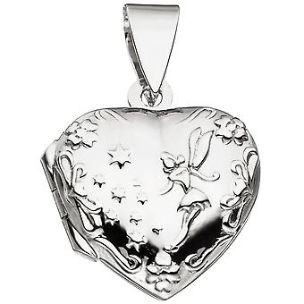 Heart pendant Locket heart 925 sterling silver rhodium plated to open 2 photos