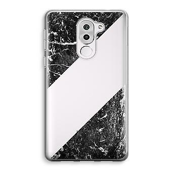Honor 6X Transparent Case (Soft) - Black marble