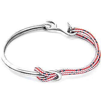 Anchor and Crew Tay Silver and Rope Bangle - Red Dash