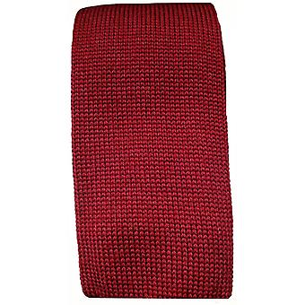 KJ Beckett Plain Wool Tie - Wine/Grey