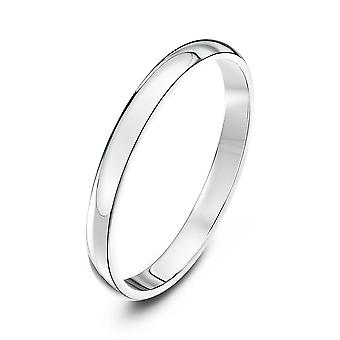 Star Wedding Rings 9ct White Gold Heavy D Shape 2mm Wedding Ring