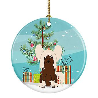 Merry Christmas Tree Chinese Crested crème keramische Ornament