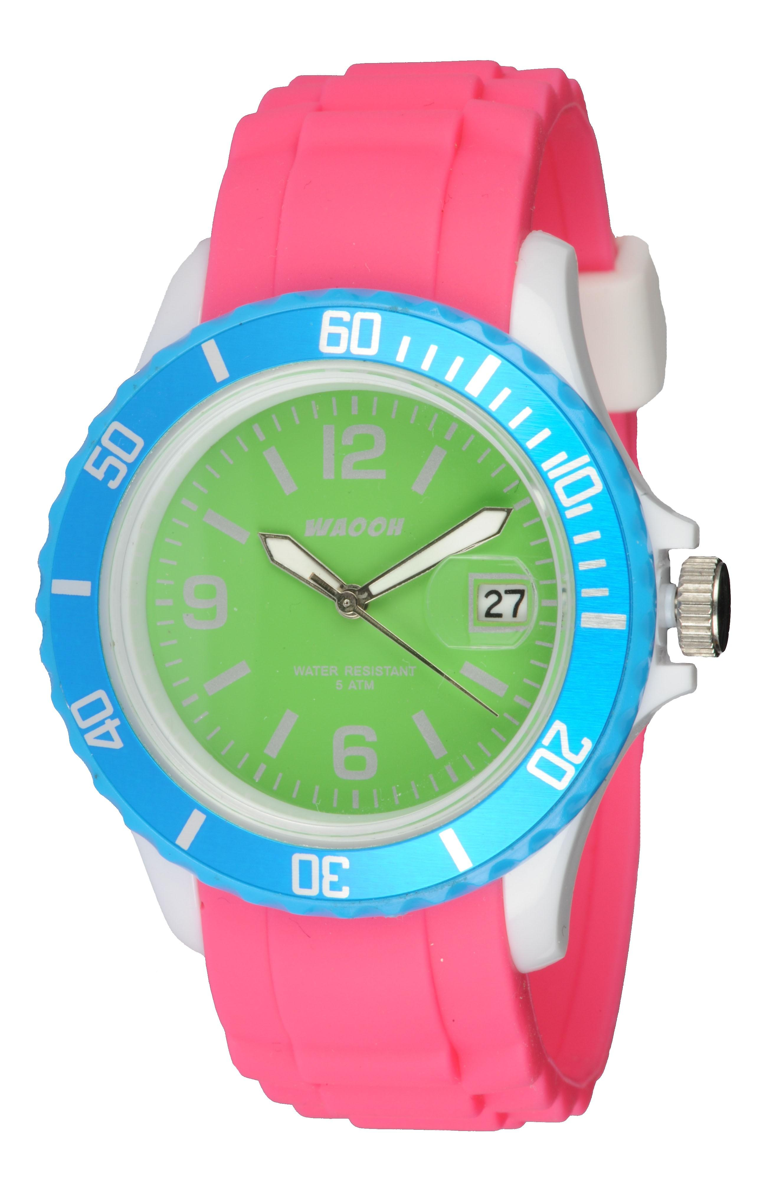 Waooh - Watch Monaco38 - white & turquoise Multicolor Green
