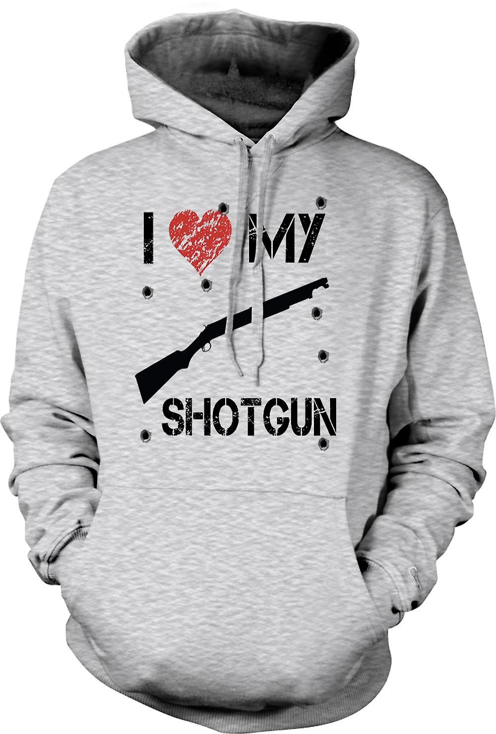 Mens Hoodie -  I Love My Shotgun