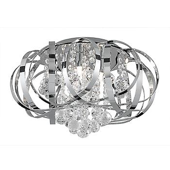 Searchlight 5973-3CC Tilly 3 Light Chrome Crystal Flush Ceiling Lamp