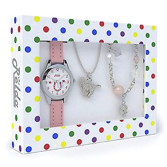 Pink Horse Watch and Girls Jewellery Set for Kids Necklace & Bracelet Gift Set