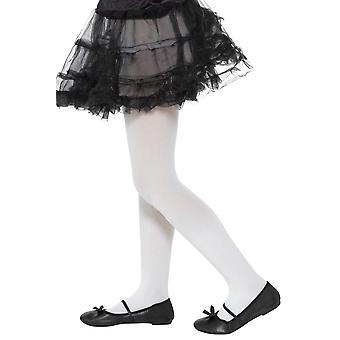 Girls White Opaque Tights Fancy Dress Accessory
