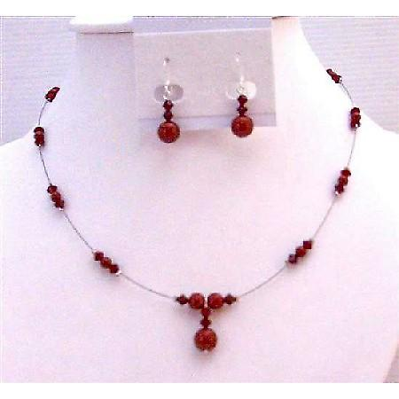 Sleek Dainty Romantic Gift Wedding Jewelry Wine Pearls Red Bordeaux & Siam Red Swarovski Crystals & Pearls Bridesmaid Jewelry Set