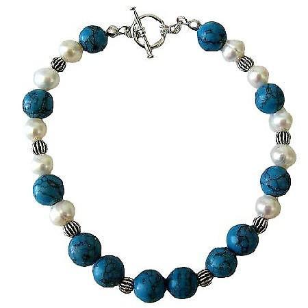Freshwater Pearls Potato Shaped & Turquoise Bead w/ Bali Silver Bead