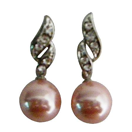 Prom Brithday Gift Pink Pearls Surgical Post Earrings