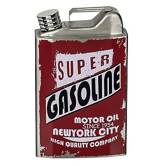 Gas can flask XL silver-colored, printed stainless steel, capacity approximately 530 ml., in white cardboard.