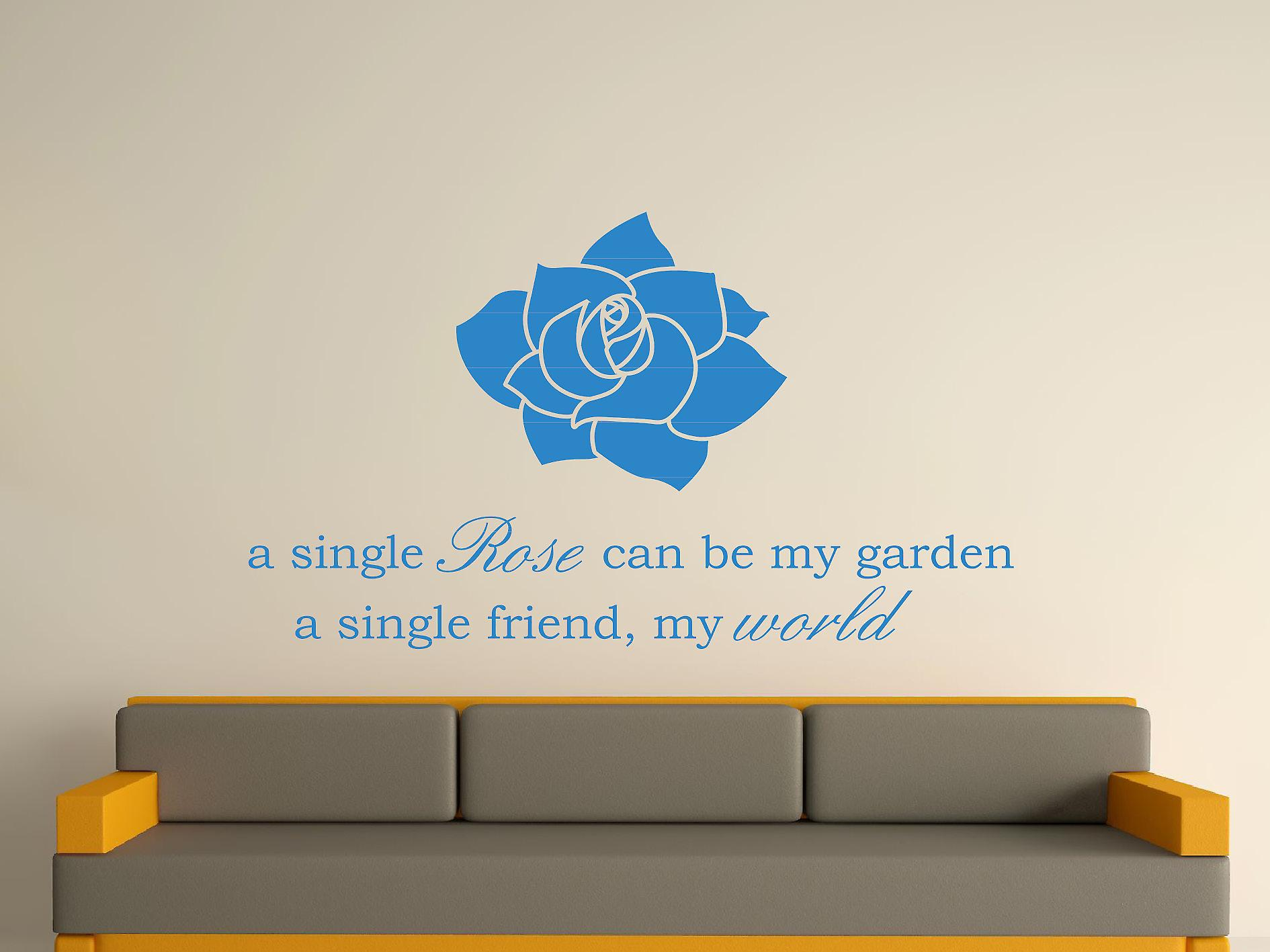 A Single Rose Wall Art Sticker - Olympic Blue