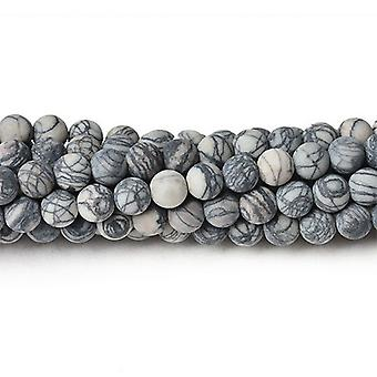 Strand 32+ Grey/Black Veined Jasper 10mm Frosted Plain Round Beads CB38447-3