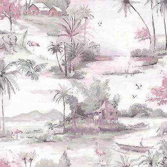 Manyara Wallpaper Elephant Trees Flowers Jungle Birds Boats Flamingos Holden Pink