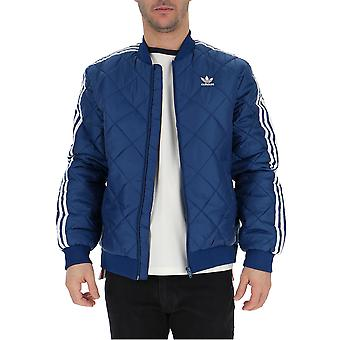 Adidas Blue Polyester Outerwear Jacket
