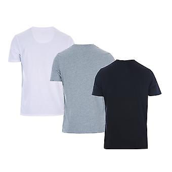Heren geld Aurous 3 pack T-shirt in zwart/grijs mergel/wit-een T-shirt wit,