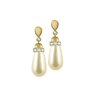 Eternal Collection Beaumont Cream Glass Pearl Teardrop Gold Tone Drop Clip On Earrings