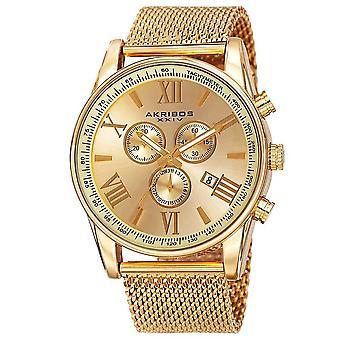 Akribos XXIV Men es Swiss Quartz Chronograph Stainless Steel Mesh Strap Watch AK813YG