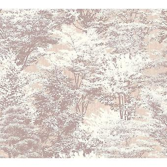 Sycamore Forest Wallpaper Trees Floral Natural Beige Taupe Off White Vinyl Crown