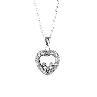 Eternity Sterling Silver Floating Cubic Zirconia Heart Pendant And Chain