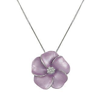 Evige samling Stedmoderblomst lilla emalje blomst sølv Tone vedhæng halskæde