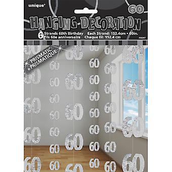 Unique Party Silver 60th Birthday/Anniversary Hanging String Decorations