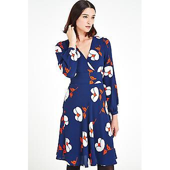 Louche Taryn Floral Wrap Dress Navy