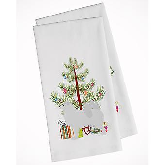 Samoyed Merry Christmas Tree White Kitchen Towel Set of 2