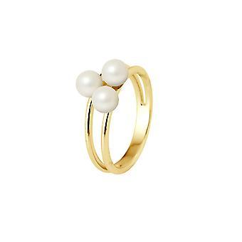 Bague Jonc 3 Perles de Culture d'eau douce Blanches et Or jaune 750/1000