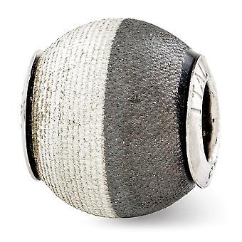 925 Sterling Silver Polished Antique finition Reflections Laser Etched et Black Matte Bead Charm