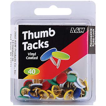 Thumb Tacks Vinyl Coated Assorted Colors 40 Pkg 461 19