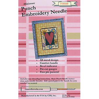 Miniature Punch Embroidery Needle Red 3 Strand Ctr Ndl 2