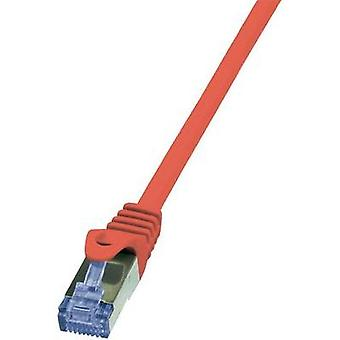 RJ49 Networks Cable CAT 6A S/FTP 0.5 m Red Flame-retardant, incl. detent LogiLink