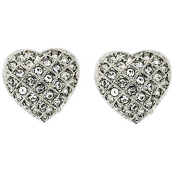 Clip On Earrings Store Silver  and  Swarovski Crystal Love Heart Clip On Earring