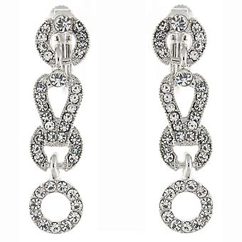Klip på øreringe butik sølv & klare Swarovski krystal Hoop Link Drop klip på E
