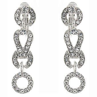 Clip On Oorbellen Store Silver & duidelijk Swarovski Crystal hoepel Link Drop Clip op E